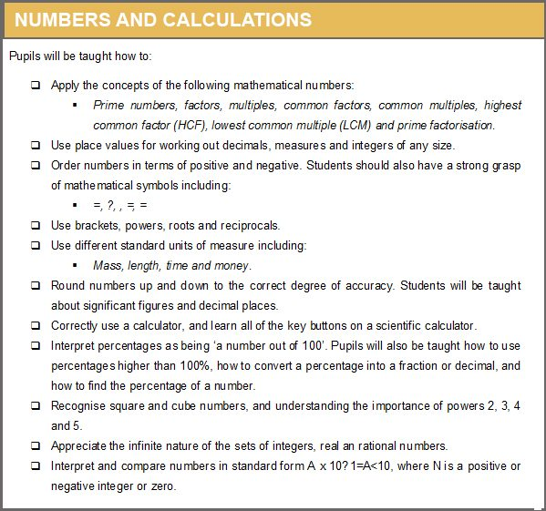 NUMBERS AND CALCULATIONS