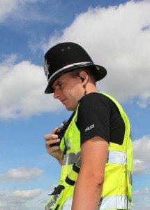 British Policeman using radio