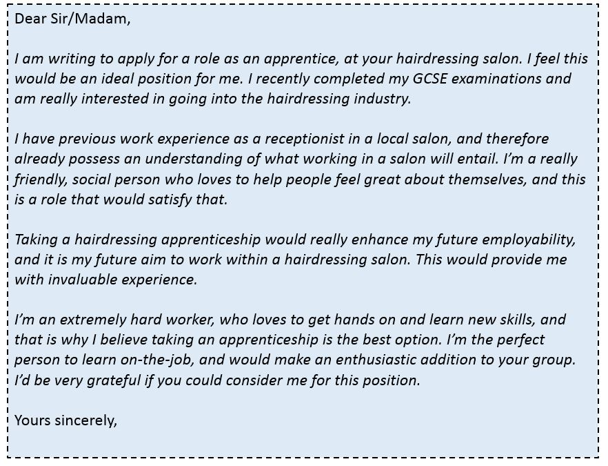 cover letter for a hairdressing apprenticeship no experience View hundreds of hairdresser apprentice resume examples to learn the best   experienced hairdresser apprentice who has excellent customer service skills   10 million users build stronger resumes, write more persuasive cover letters, and .