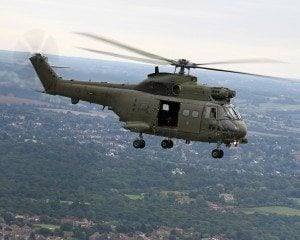 A Royal Air Force 230 Squadron Puma HC1 helicopter based at RAF Benson, Oxfordshire is pictured during a training flight over London. The sortie included low and medium level transit flights, landing at un-prepared sites and navigation exercises involving a refueling stop at RAF Marham, an over flight of RAF Wyton and flying through the London heli-lanes. The Puma HC1 first entered service in 1971, and the RAF currently has a fleet of 34 aircraft available to the front-line Support Helicopter Force. The aircraft are operated by Nos 33 and 230 Squadrons, both based at RAF Benson. The combined Puma Force is separated into 5 operational flights and an operational conversion flight, which offers flexibility in its role with both desert warfare and arctic warfare specialist equipment available for fitting to the aircraft.The Pumas are used as battlefield helicopters within the Joint Helicopter Command and provide tactical troop and load movement by day or by night. The aircraft can carry up to 16 fully-equipped troops, or up to two tonnes of freight carried either internally or as an under-slung load. The other major role is that of casualty or medical evacuation support, for which up to six stretchers can be fitted.
