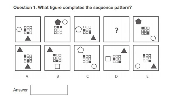 sequence pattern/spatial awareness example bank test question