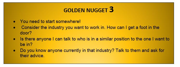 golden nuggets are a great way to learn about jobs after graduation