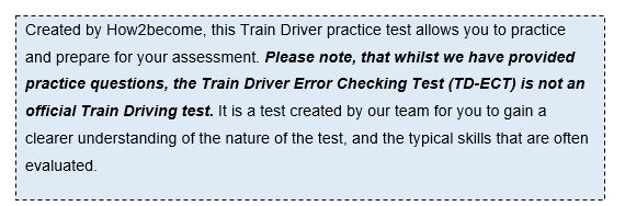 trainee train driver assessment