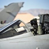 A Royal Air Force Tornado GR4 pilot with IX (Bomber) Squadron based at RAF Marham arriving at United States Air Force Base Nellis in Nevada.Seven Tornado GR4 fast jets were taking part in Exercise Red Flag, a joint US/UK Air Force exercise that facilitates the understanding of fast jet operating procedures between the two allied nations.