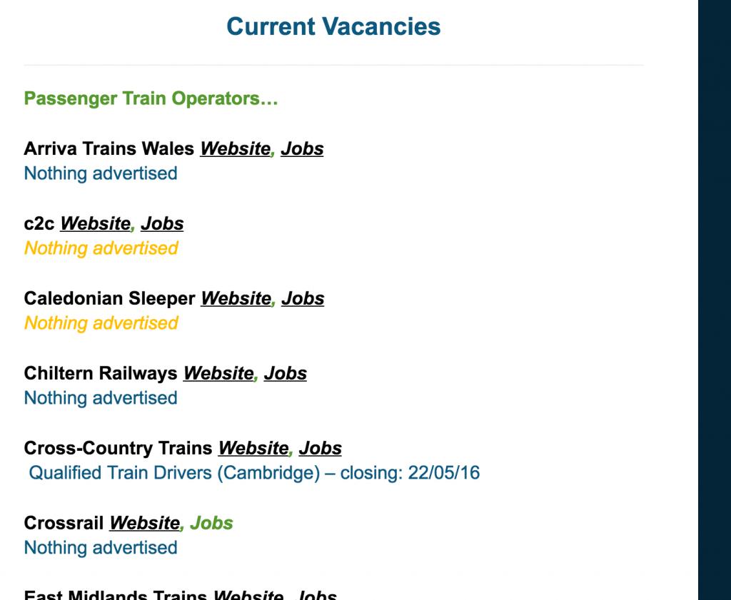 Train Driver Jobs Board