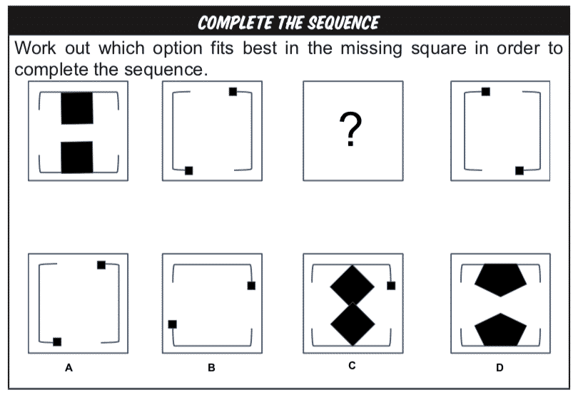 Complete the sequence Non-verbal Reasoning practice question example