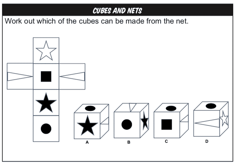 Cubes and Nets Non-verbal Reasoning practice question example