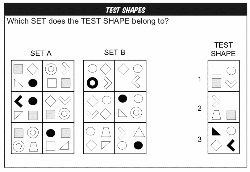 Test Shapes Non-verbal Reasoning practice question example