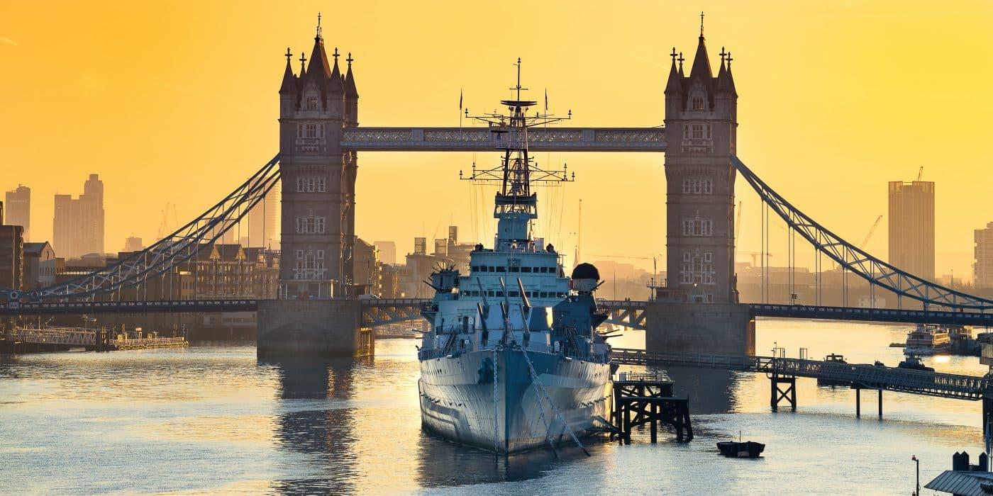UK Royal Navy vessel on the River Thames
