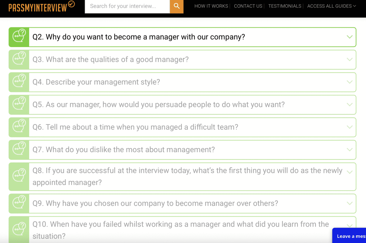 PassMyInterview Interview Questions List