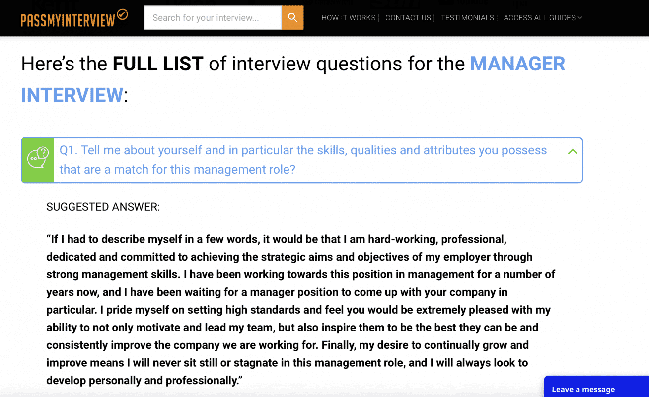 PassMyInterview sample interview question and answer